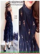 Đầm xòe dài cổ peter váy dập ly hình cô gái xinh đẹp DZ406