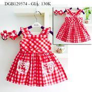 Đầm caro kate túi ren kèm cột tóc dễ thương cho bé gái 1 - 8 tuổi DGB129574