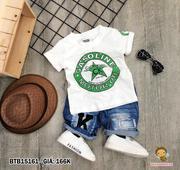 Set áo thun in logo quần jean wash dễ thương cho bé 1 - 8 tuổi BTB15160