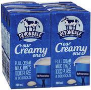 Lốc 4 hộp Sữa Devondale Full cream milk 200ml