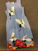 Áo dài cách tân sát nách hình chim cò sành điệu dễ thương AD22