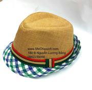 Mũ phớt cói mùa hè bé trai viền xanh