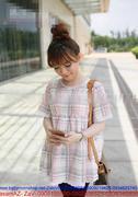 Áo bầu họa tiết caro hồng dễ thương xinh đẹp DB419