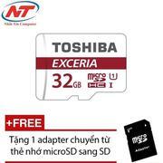 Thẻ nhớ MicroSDHC Toshiba Exceria 32GB Class 10 48MB/s không Box (Đỏ) + Tặng 1 adapter thẻ nhớ Micro...