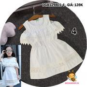 Đầm khoét vai phối ren dễ thương cho bé gái 1 - 8 tuổi DGB129801