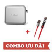 Combo: Pin sạc dự phòng Yoobao Magic Cube II YB-659 13000mAh Bạc - Cáp sạc Remax 2 đầu Lightning/Mic...