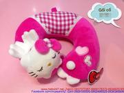 Gối kê cổ mặt mèo Kitty ngủ màu hồng đậm cực iu GOK4