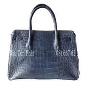 Túi xách nữ cá sấu da trơn mềm mại cao cấp màu xanh