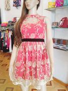 Váy đầm ren ép cao cấp màu đỏ cam