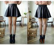 Chân váy xòe da chất liệu da dày đẹp thiết kế sành điệu CVX15