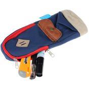 Cute Pig Snout Canvas Pencil Case Cosmetic Makeup Coin Pouch Zipper Bag (Blue)